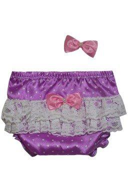 calcinha de bolinha cetim roxa