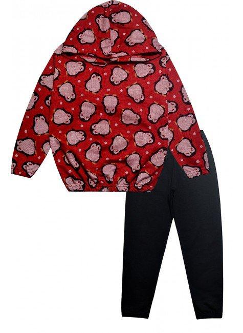 976 conjunto preta conj casaco vermelho de pinguim