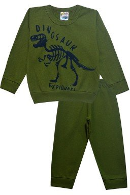 0012 conjunto dinossauro verde musgo
