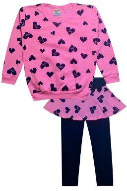 conjunto rosa c coracao marinho