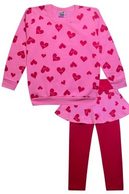 conjunto rosa c coracao pink