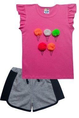 conjunto rosa escuro short 5311